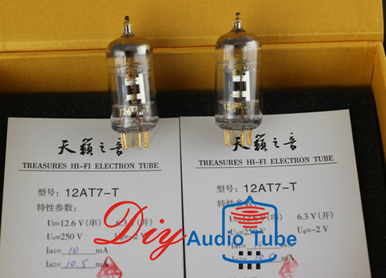 China Tubos de elétrons mais altos do Triode da transcondutância do ampère do tubo de Shuguang 12AT7-T Digitas fábrica